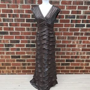 Adrianna Papel Occasions Ruffled Metallic Gown